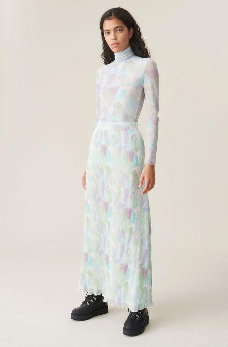 Pleated Georgette Maxi Skirt, Georgette, in colour Bright White - 1 - GANNI