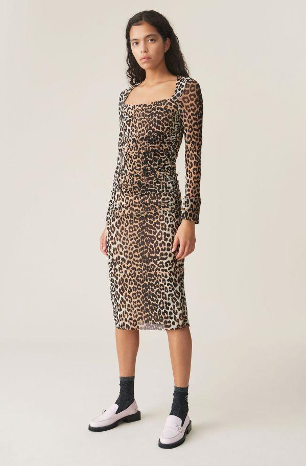 Printed Mesh Dress, Mesh, in colour Leopard - 1 - GANNI