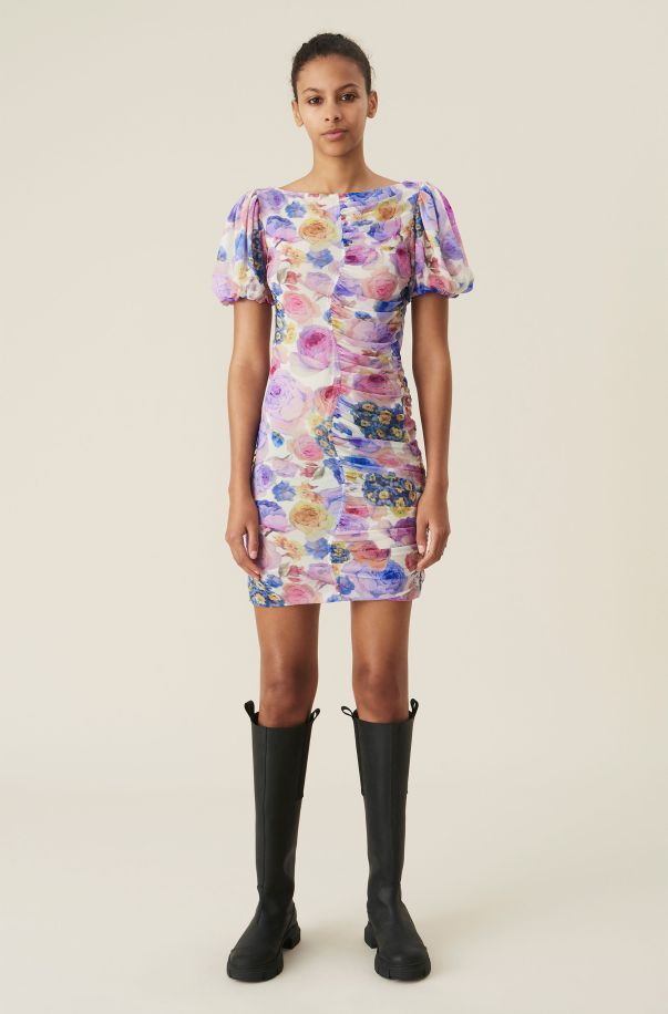 Printed Mesh Mini Dress, Elastane, in colour Multicolour - 1 - GANNI