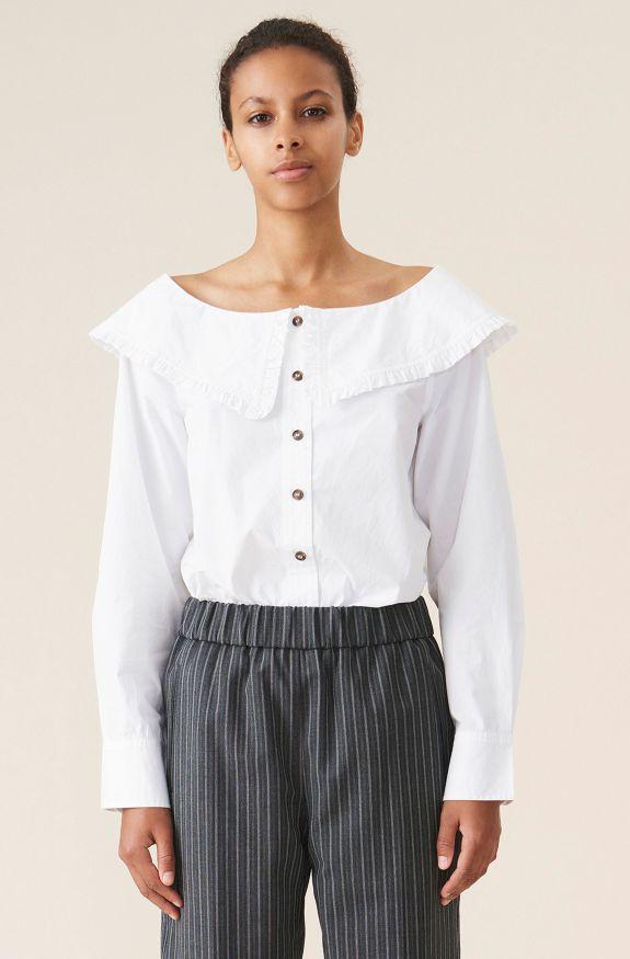 Cotton Poplin Shirt, Cotton, in colour Bright White - 1 - GANNI