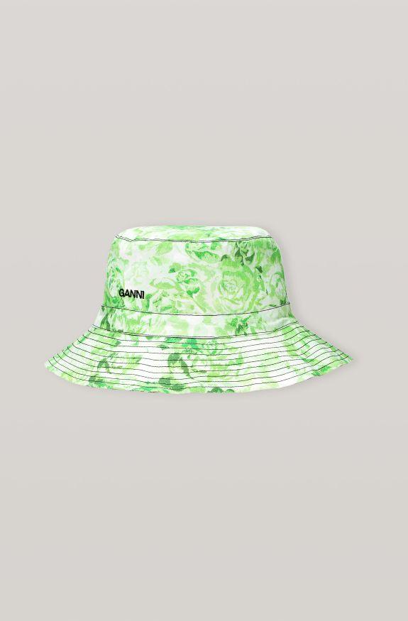 Printed Cotton Poplin Hat, Cotton, in colour Island Green - 1 - GANNI