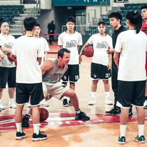 Ganon Baker training a group of young basketball players during Live Training in China