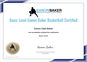 Basic Level Ganon Baker Basketball Certification
