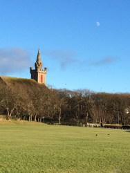 Moon above St Peter's Church, Wick