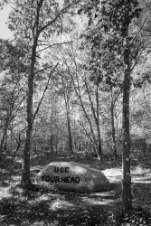 Written in Stone: one of the 'Babson Boulders' at Dogtown Common, Gloucester, MA