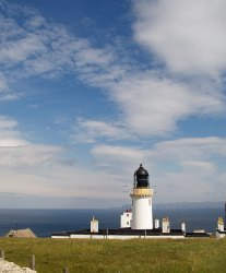 The lighthouse at Dunnet Head - Orkney is in the background
