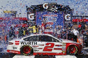 Brad Keselowski has no luck at the Auto Club Speedway.  On Sunday he led one lap...but it was the lap that mattered.