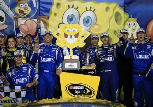 It was a familiar face in victory lane at Kansas, but it was the race sponsor that got the most attention.