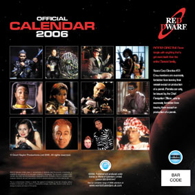 The back of the Red Dwarf 2006 calendar.