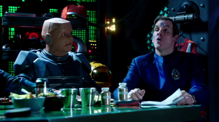 Kryten and Rimmer in Starbug's mid-section