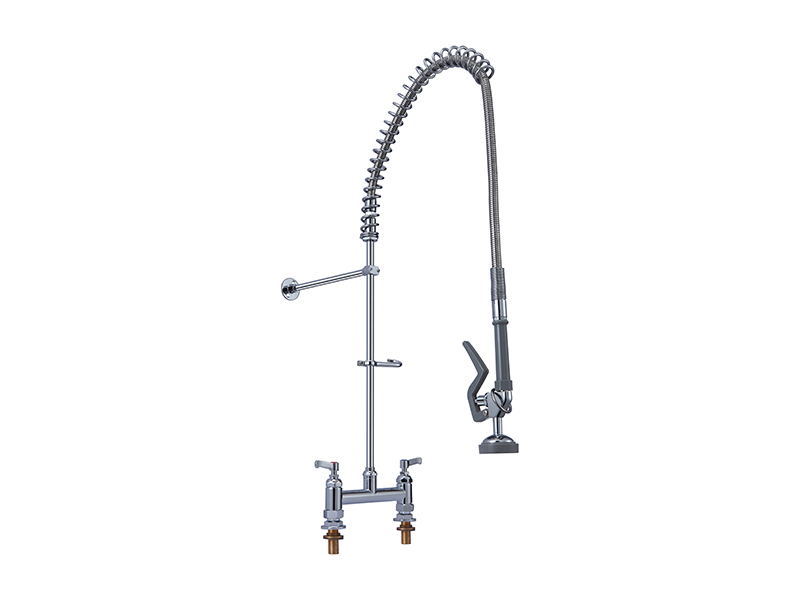 commercial kitchen faucet mobile home faucets 商用厨房龙头双温双把高压花洒龙头zbs 5804a 高压洗地龙头 圳镈钏 外贸