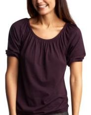 Women: Elbow-sleeved blouson top - vineyard