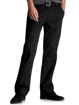 Men: Clean straight fit plain front pants - true black