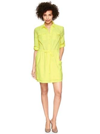 Gap Neon Yellow Shirtdress