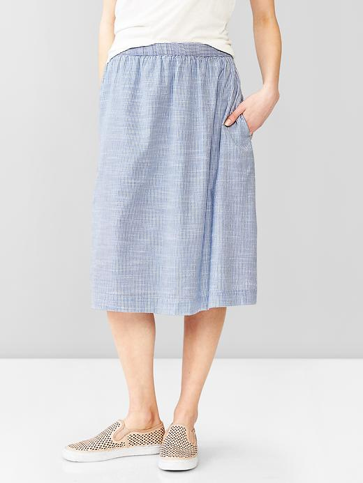 Gap Women Stripe Midi Skirt Size M - Blue & white stripe