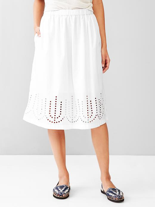 Gap Laser Cut Midi Skirt Size M - Optic white
