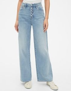 High rise wide leg jeans with button fly also size chart gap rh