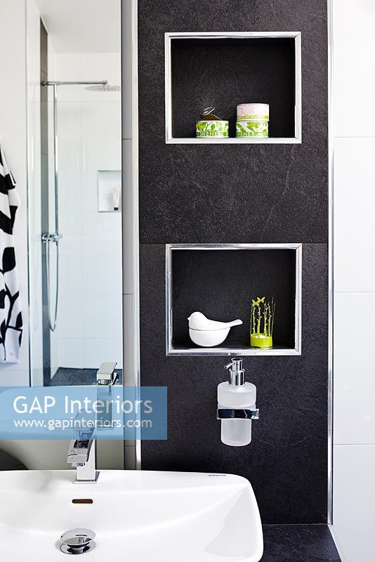 GAP Interiors  Alcove shelves in modern bathroom  Image