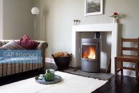 GAP Interiors - Modern living room with wood burning stove ...