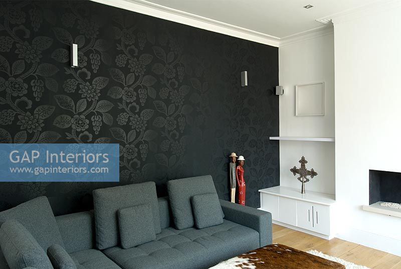 living rooms with dark grey feature walls artificial plants in room ideas gap interiors modern black wall image