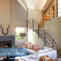 Open Plan Staircase In Living Room Microsuede Furniture Gap Interiors Contemporary And