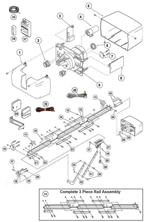 capacitor start motor wiring diagram craftsman audio 1997 ford explorer genie ac screw drive replacement parts guide schematic