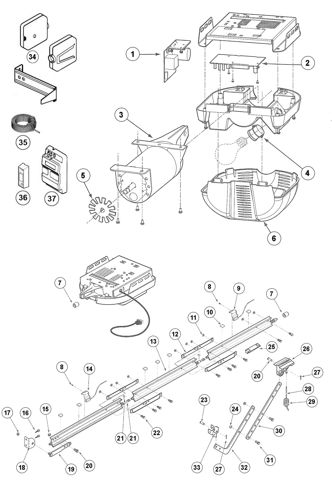 genie garage door parts diagram electric blanket wiring excelerator opener schematic