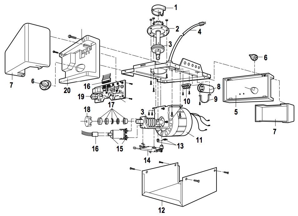 Chamberlain Liftmaster 1 3 Hp Garage Door Opener Parts