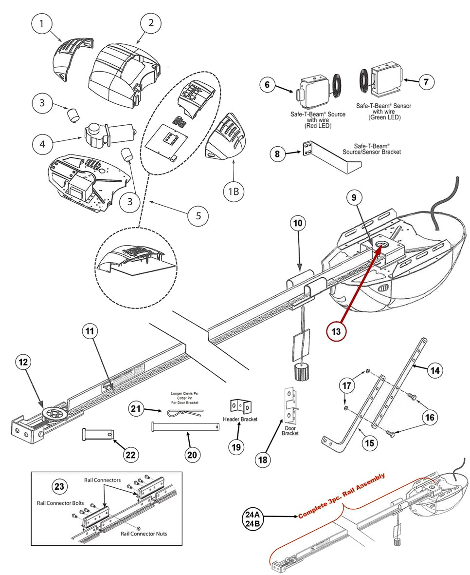 hight resolution of genie 1022 1024 1042 garage door opener parts door schematic