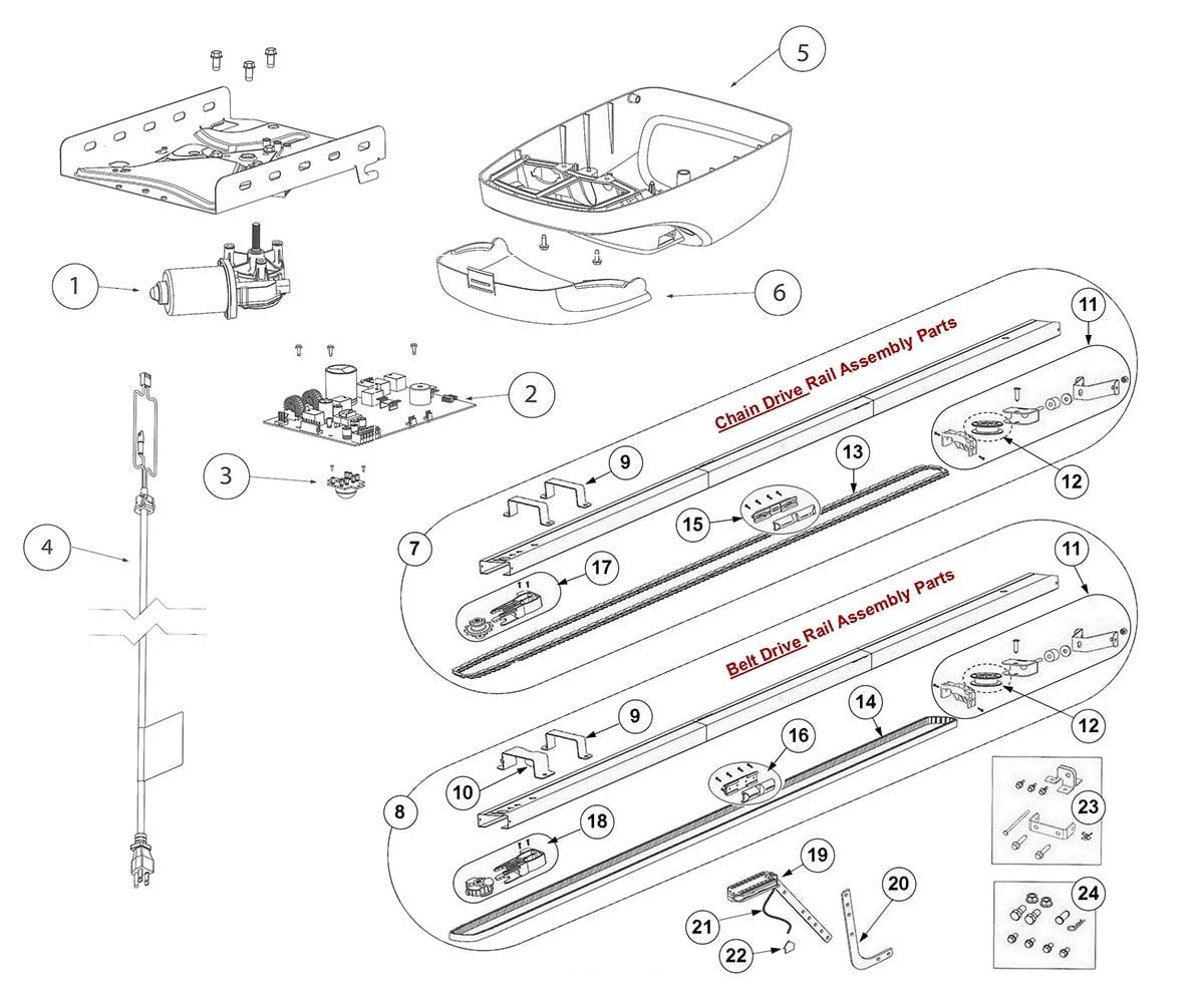 hight resolution of genie 3024 4024 3022 4022 3042 4042 garage door opener parts