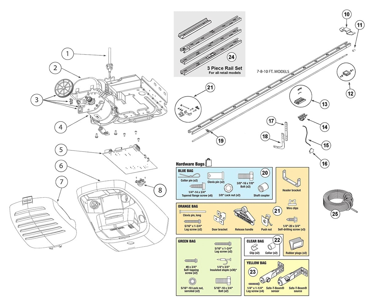 hight resolution of genie trilog powermax garage door opener parts schematic