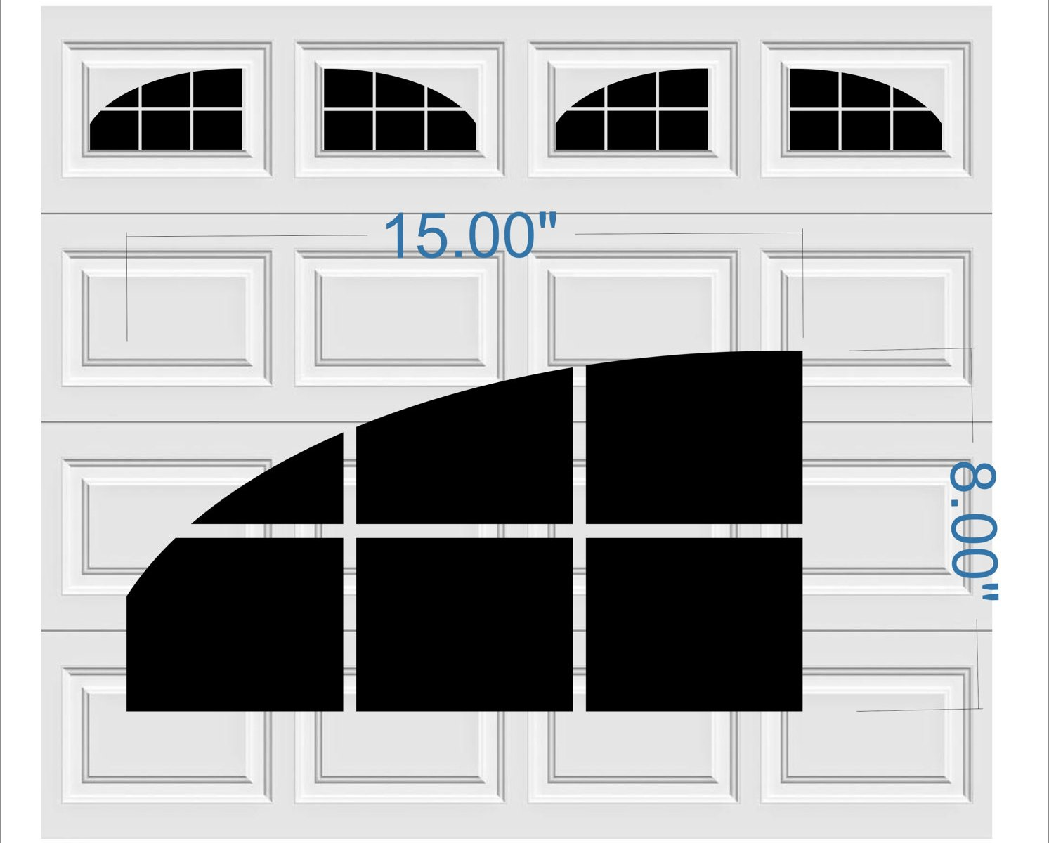 Carriage Style A1s Faux Window Garage Door Vinyl Decals