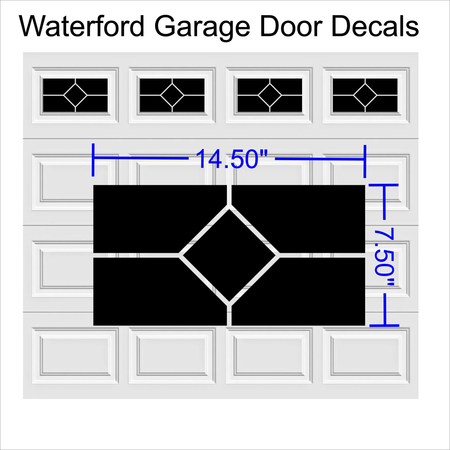 Garage Door Vinyl Window Decals: Waterford Design Style Faux Window Garage Door Vinyl