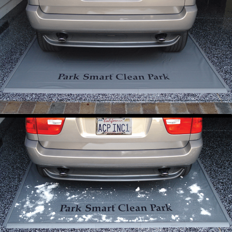 Keep snow off garage floor with a park smart clean park for Best product to clean garage floor