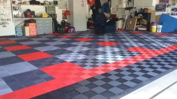 Red and Black Garage Floor Tiles