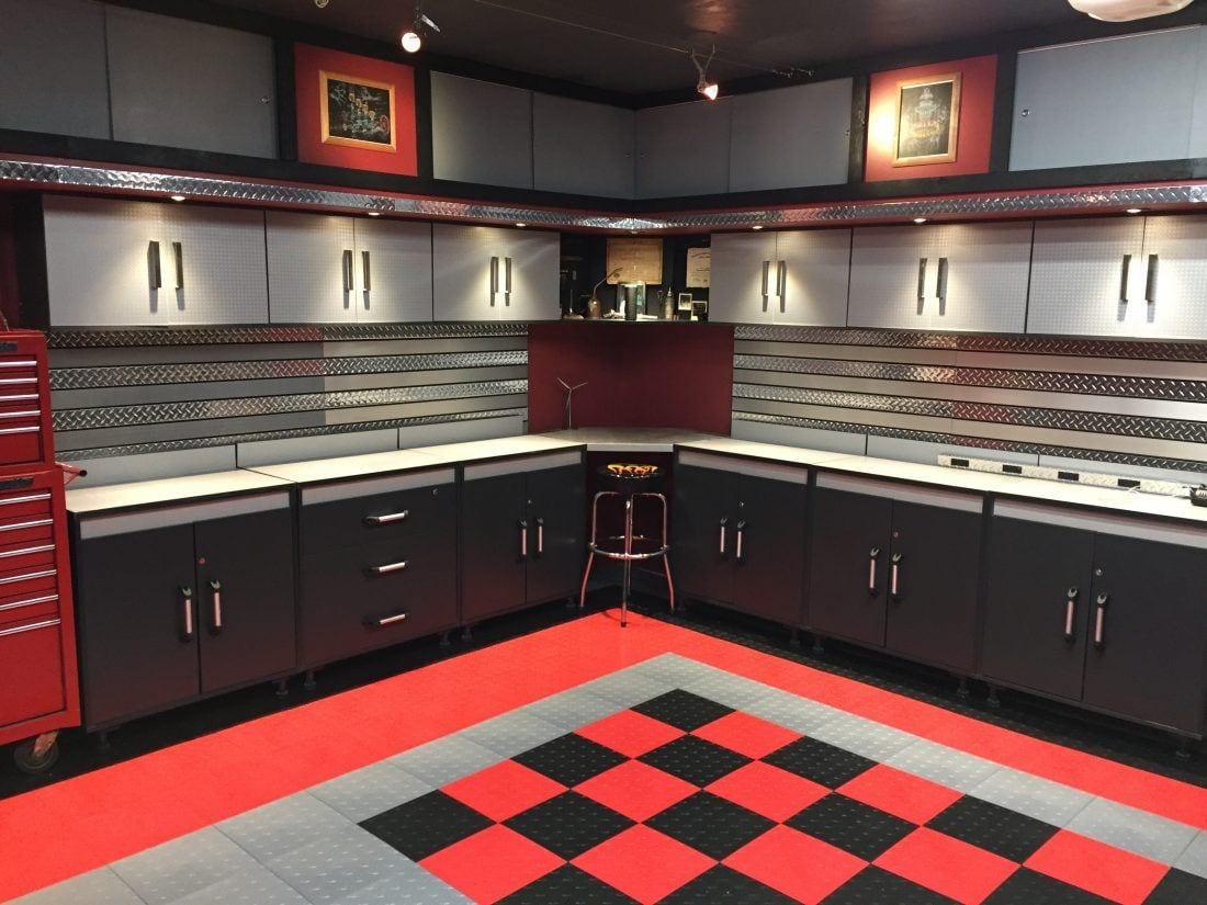Dan's Black and Red Checkered Tile Garage Floor