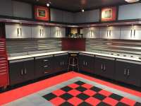Dan's Black and Red Checkered Tile Garage Floor