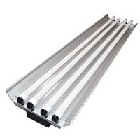 Grey 96W 4 Ft. 4 Light Shop Light Plug In T8 Fixture with Pull Chain - 4X 24W Cool Lighting LED Tubes- 6500K