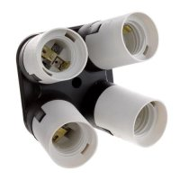 Flashpoint 4 Socket Adapter - Converts 1 Socket into 4 - Use for Standard Socket Flourescent Bulbs