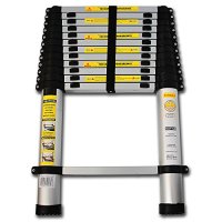 OxGord® Aluminum Telescopic Ladder 12.5 FT Heavy Duty Commercial Grade - Extendible Work Light Weight Multi-Purpose System Steps for Library, Attic & or even Household Use Cleaning Windows Etc. - 330 LB Capacity - 2016 Newest Technology
