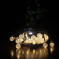 Dephen Solar Outdoor String Lights 19.7 ft 30 LED Crystal Ball Waterproof Globe Fairy Christmas Lights Solar Powered String Lights for Garden Yard Patio Party Home Decoration(Warm White)