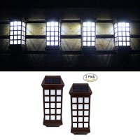 Solar Lights Outdoor, niceEshop(TM) Outdoor Fence Lights, Wireless Waterproof LED Solar Lights for Deck Porch Patio Yard Garden Walkway, Outside Wall with Light Sensor Auto On/Off(White Light, 2 Pack)