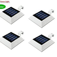 Falove Solar Powered 4 LED Light for Outdoor Garden, Roof Gutter, Fascia Board,fence,tiki Hut, Dog House,tree,outside Garage Door,wall