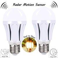 Motion Sensor LED Light Bulbs, 9W A19 E26 Smart Dusk to Dawn Radar Sensor Bulb Warm White 2700K Auto On/Off Indoor /Outdoor LED Sensor Lighting Lamp for Garage, Stair, Walkway, Yard, Hallway, 2-Pack