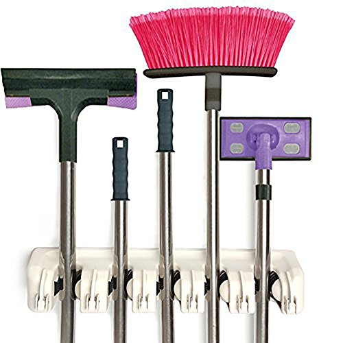 mop and broom holder wall mounted organizer storage hooks ideal broom hanger for - Broom Holder