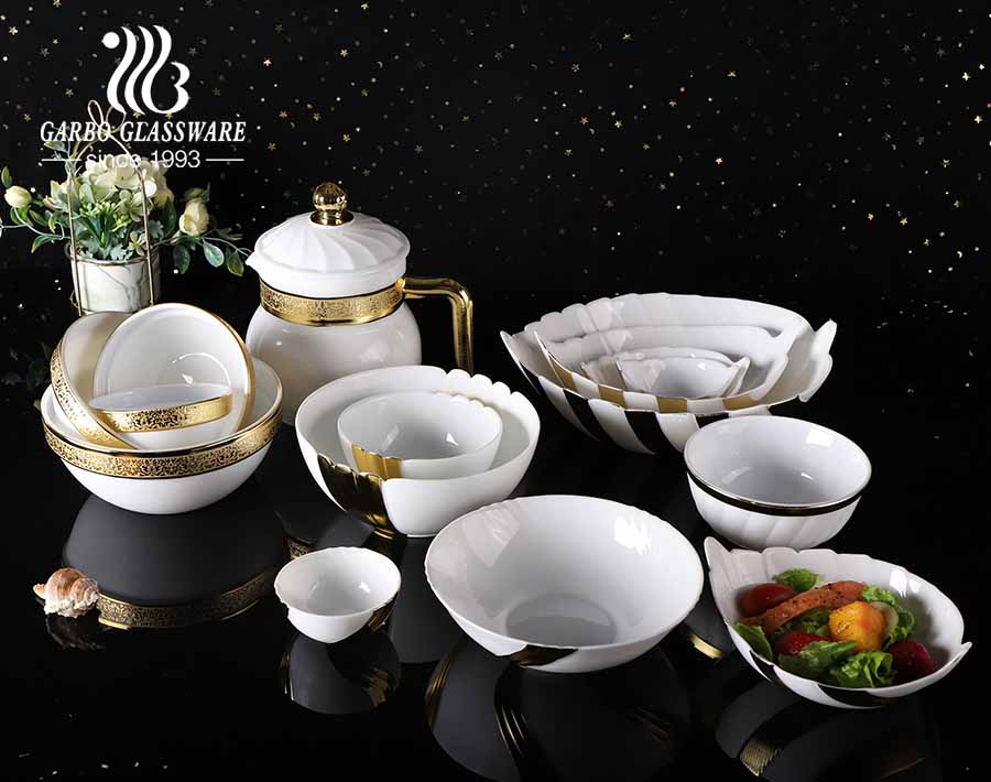 1 8l square opal glass glass casserole dish with lid and golden electroplated for microwave safe