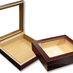 CHATEAU GLASSTOP Cherry 20 Count Cigar Humidor w/ Humidifier