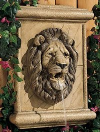 Lion's Head Wall Spitter, Cast stone: Wall & Tabletop ...