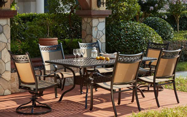 re sling patio chairs wedding table and chair rentals furniture aluminum/sling dining set 72