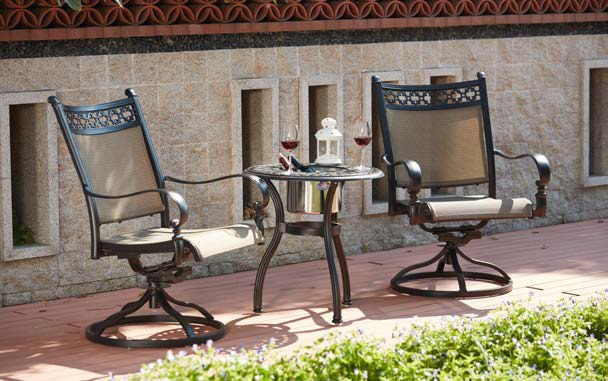 Patio Furniture AluminumSling Bistro Set 3pc Mountain View